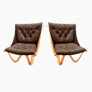 Vintage Chairs in Leather and Bentwood from Georg Thams, Set of 2