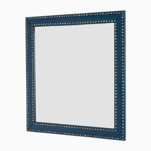 Mid-Century Faux Leather & Brass Mirror by Otto Schulz for Boet