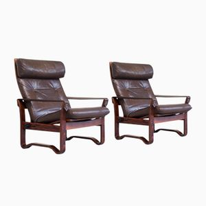 Verstellbare Skandinavische Sessel aus Palisander & Leder, 2er Set