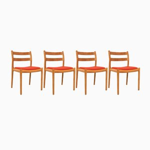 Model Number 84 Oak Chairs by Niels Otto Moller, 1970s, Set of 4