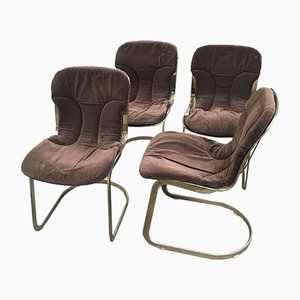 Italian Gilt Metal Chairs with Brown Velvet Cushions, 1970s, Set of 4