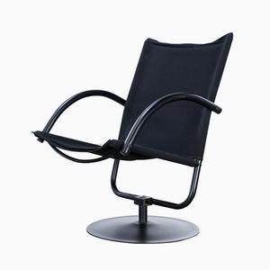 Black Canvas Swivel Chair, 1980s