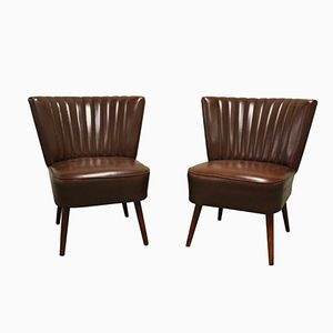 Faux Leather Brown Cocktail Chairs, 1960s, Set of 2