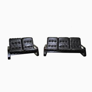 Scandinavian Bentwood Leather Sofa Set, 1960s