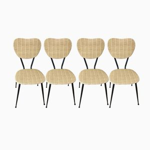 Mid-Century Bamboo Leatherette Chairs, Set of 4