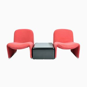 2 Alky Chairs & Black Fiberglass Coffee Table by Giancarlo Piretti for Anonima Castelli, 1970s