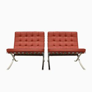 Barcelona Chairs by Mies Van Der Rohe for Knoll International, 1980s, Set of 2