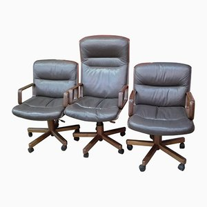 Armchairs with High Backs and Solid Wooden Armrests, 1980s, Set of 3
