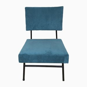 Mid-Century Blue Velvet Side Chair