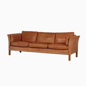 Mid-Century Danish 3-Seater Cognac Aniline Leather Sofa by Stouby for Stouby Furniture, 1980s