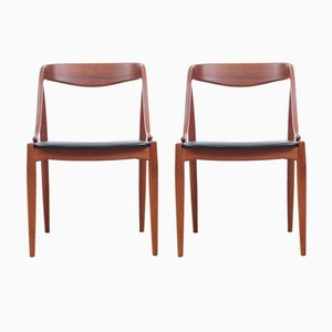 Vintage Chairs in Teak and Skai by Johannes Andersen for Uldum Møbelfabrik, Set of 2