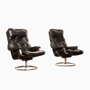 Black Leather Swivel Lounge Chairs, 1970s, Set of 2
