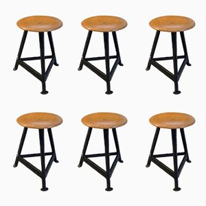 Industrial Stools, 1950s, Set of 6