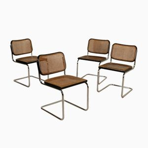 Mid-Century Italian Cesca Chairs with Vienna Straw Seats by Marcel Breuer for Gavina, Set of 5
