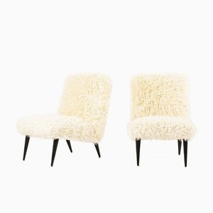 Low Chairs in White Fur Fabric, 1950s, Set of 2