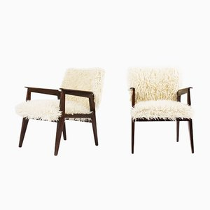 Armchairs in White Fur, 1950s, Set of 2