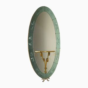 Wall Mirror with Console in Wrought Iron, 1950s