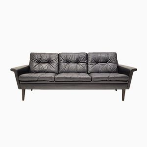 Mid-Century Modern Danish 3-Seater Leather Sofa, 1960s