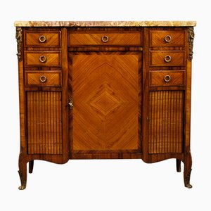 French Sideboard in Wood with Gilded Bronze Details and Marble Top, 1920s