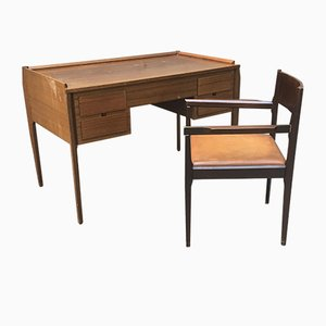 Small Vintage Italian Desk with Matching Chair