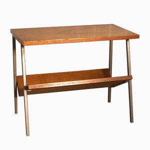 Vintage Dutch Teak Veneer Side Table with Magazine Rack