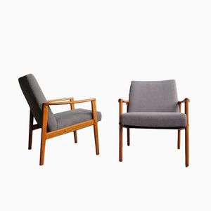 Vintage Danish Oak Easy Chairs, Set of 2
