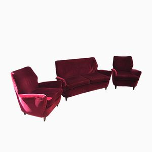 Italian Living Room Set in Red Velvet, 1950s
