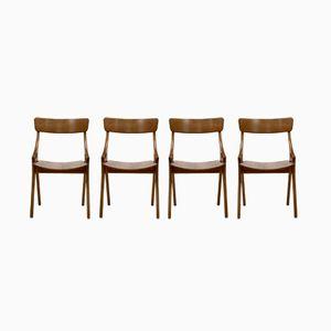 Danish Dining Chairs by Hovmand Olsen for Mogens Kold, 1958, Set of 4