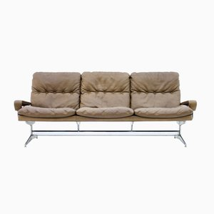 Mid-Century Swiss Leather King Sofa by André Vandenbeuck for Strässle, 1965