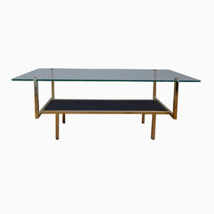 Mid-Century Minimalist Glass & Metal Coffee Table