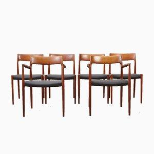 Mid-Century Modell 57 & 77 Esszimmerstühle von N.O. Moller für J.L. Mollers, 6er Set