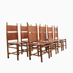 Vintage Kentucky Chairs by Carlo Scarpa for Bernini, 1970s, Set of 8