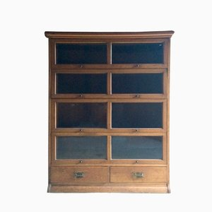 Vintage Glazed Golden Oak Bookcase from Henry Barker