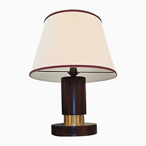 French Rosewood & Brass Table Lamp, 1930s