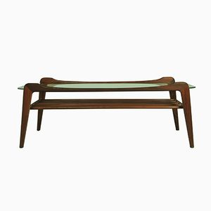 Mid-Century Teak Coffee Table with Glass Top