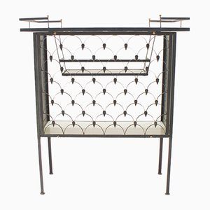 Italian Ceramic Tile & Iron Bar Trolley, 1950s