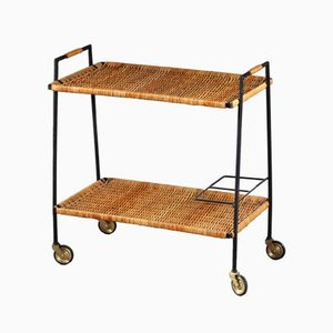Mid-Century Wicker Bar Cart