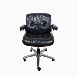 Swiss Leather Office Armchair from Stoll Giroflex AG, 1970s