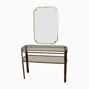 Gold Plated Console Table with Smoked Glass & Mirror, 1970s
