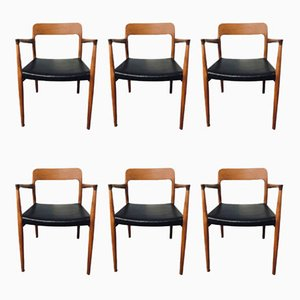 Mid-Century Model 75 & 56 Teak Dining Chairs by Niels Otto Møller, Set of 6