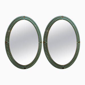 Italian Opaline Glass and Brass Mirrors, 1950s, Set of 2