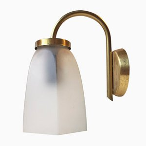Vintage Danish Brass & Frosted Glass Lounge Wall Lamp from Lyfa
