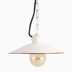 Small White Enamel Pendant Light, 1950s