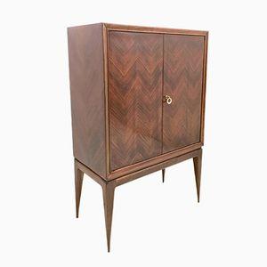 Italian Rosewood, Mirror, & Glass Bar Cabinet, 1950s