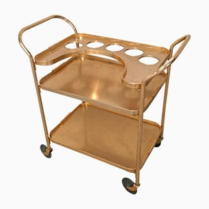 Italian Gilt Aluminum Bar Cart on Wheels, 1960s