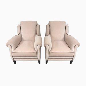 Armchairs in Pink Velvet, 1950s, Set of 2