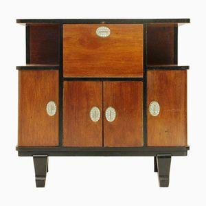 Italian Art Deco Wood Veneered Bar Cabinet with Glass Handles, 1930s