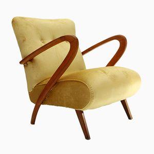 Italian Art Decò Yellow Velvet Armchair, 1940s