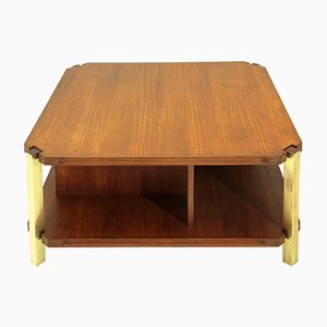 Italian Teak Coffee Table with Brass Legs, 1960s