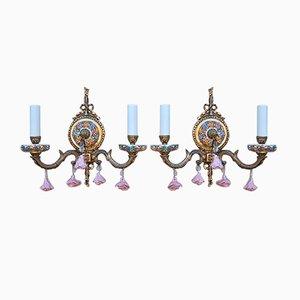 Vintage Brass and Porcelain Floral Sconces, Set of 2